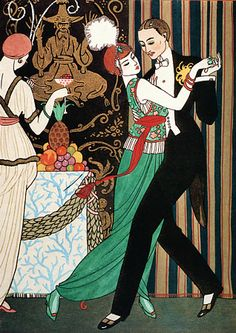 "1920s Art Deco ""The Dancers"" Barbier Fashion Poster Print"