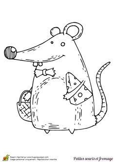 Dessin du gros monsieur souris et son fromage, à colorier