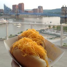 Cheese Coneys made with Cincinnati chili.  YUMMMMMM Those of you who don't live in Cincinnati don't know what you are missing!