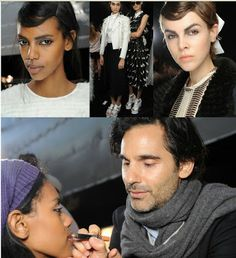 James Kaliardos,lead artist  for NARS Cosmetics, NYFW Erdem SS '14 runway show. FACE NARSskin Optimal Brightening Concentrate Pure Radiant Tinted Moisturizer Radiant Creamy Concealer Light Reflecting Loose Setting Powder Copacabana Illuminator Altai Matte Multiple (New for Spring 2014; for now try Zen Blush) BROW Brow Perfector Brow Gel EYES Brumes Duo Eyeshadow Paris Duo Eyeshadow LIPS Floralies Satin Lip Pencil