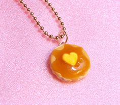 Pancake Necklace  Cute Food Jewelry  Kawaii Heart by kawaiidesune, $12.00