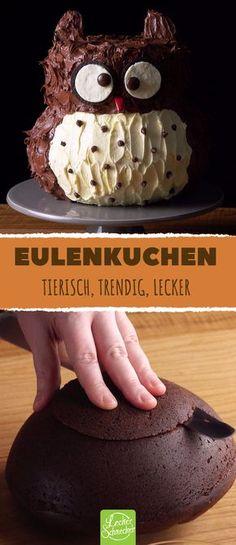 Dieser ungewöhnliche Kuchen bereitet tierisches Vergnügen! #rezept #rezepte #eule #tier #kuchen #schoko #nutella #buttermilch #kinder #kindergeburtstag