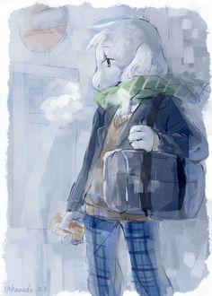 Asriel in school uniform by hanada03