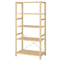 IKEA - IVAR, Shelf unit, Untreated solid pine is a durable natural material that can be painted, oiled or stained according to preference.You can move shelves and adapt spacing to suit your needs. Billy Regal Ikea, Ivar Regal, Kallax Regal, Ikea Wooden Shelves, Ikea Ivar Shelves, Wooden Shelving Units, Kitchen Shelves, Ikea Hejne, Foldable Table