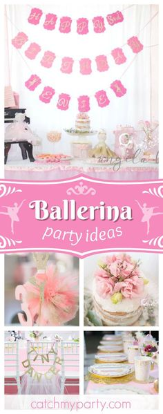 Take a look at this pretty Ballerina birthday party! The naked cake topped with pink fresh flowers is a dream! See more party ideas and share yours at CatchMyParty.com  #catchmyparty #partyideas #ballerinabirthdayparty
