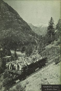 Tourists on the incline at Skagit Project, Diablo1935