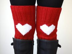 Hey, I found this really awesome Etsy listing at https://www.etsy.com/listing/169475287/knit-boot-cuffs-heart-legwarmers-red