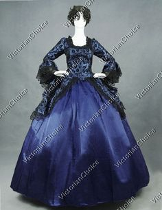 Renaissance Colonial Blue Floral Brocade Dress Ball Gown Steampunk Clothing 143 #VictorianChoice #Dress