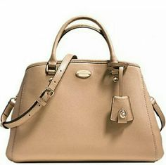 """New Coach Cross grain Leather Margot Satchel NWT Coach Crossgrain Leather Margot Carryall Purse Handbag   Color: Nude  Hardware: Gold    Lined interior  Inside with 3 multifunction pockets  zipped center divider pocket  Clasp top closure  Rolled leather handles with 3.75"""" drop  Adjustable and detachable shoulder/crossbody strap  Approx.  14"""" (L) x 9"""" (H) x 6"""" (D) Coach Bags Satchels"""