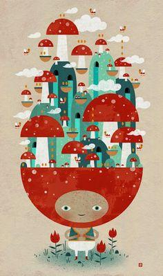 """Toadstool Tao Created by Jon Reinfurt Behance Cute Illustration, Digital Illustration, Arte Indie, Illustrations And Posters, Game Design, Vector Art, Cool Art, Stuffed Mushrooms, Character Design"