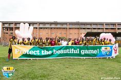 The Ugandan Cranes launching WASH United's Protect the beautiful game campaign together with Handy & Soapy