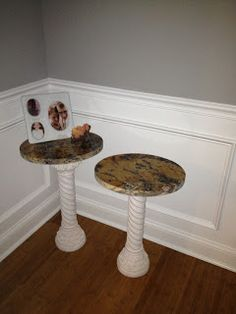 DIY accent tables: Scrap granite sink cutouts