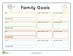 Family goal setting can be a way to brainstorm what is important to you and your family. Once you have the goal set, this printable can help create a plan.