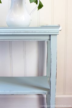 I used my Gray Morning by Behr (mixed about with Pure White) in my go-to DIY chalk paint recipe on this piece. I love this pretty blue. Furniture Fix, Thrift Store Furniture, Diy Furniture Projects, Repurposed Furniture, Furniture Makeover, Office Furniture, Diy Chalk Paint Recipe, Cute Home Decor, A Table