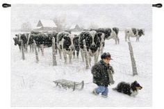 Curious Onlookers Wall Hanging Tapestry Americana Throws. The young boy walks home with his dog through the snow, while the cows look on in this adorable and sweet Curious Onlookers Wall Hanging. It is a moment in time that is captured and tends to bring a peaceful and comforting thought or two to mind.