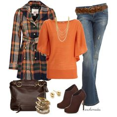 Orange and Blue Plaid Coat :)