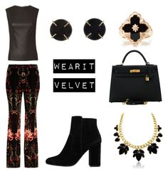 """Velvet Black"" by daughteroftheharpy ❤ liked on Polyvore featuring Roberto Cavalli, Helmut Lang, Hermès, MANGO, Buccellati and Melissa Joy Manning"