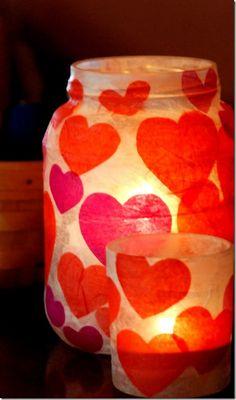 Valentine Kid Craft - Valentine Craft Ideas - Tissue Paper Votives - Mason Jar Craft Ideas @Mason Jar Crafts Love
