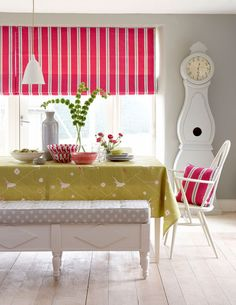 Lovely colour combo.   Vanessa Arbuthnott, Swedish Collection, textiles, hand print, mid-century, Scandi-style, Gustavian, Swedish design, country decorating, ideal home, alice humphrys
