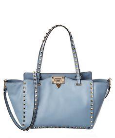 VALENTINO Valentino Rockstud Small Leather Tote'. #valentino #bags #shoulder bags #hand bags #leather #tote #lining #