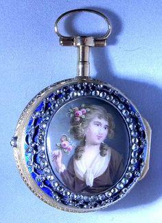 Soret Triple Case 18K Painter Enamel Verge - Bogoff Antique Pocket Watch # 7033