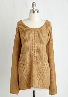 Spool, Calm, and Collected Sweater. When your day off consists of your fave crafty pastime and this camel sweater, youre sure to feel serene. #tan #modcloth