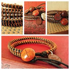 Vintage Leather Button Bracelet from £39.00 www.catewoodcollections.co.uk