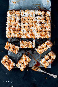 Salted Caramel Chocolate Meringue Brownie