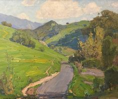 """William Wendt ~ """"Laguna Canyon""""-- oil on canvas Impressionist Paintings, Impressionism, Landscape Art, Landscape Paintings, Landscapes, Sky Painting, California Art, Paintings I Love, Green Art"""