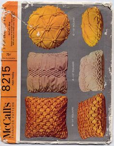 60s Retro Decor Pop Smocked Pillows--Square or Round--McCall's 8215 Vintage Sewing Pattern. $11.95, via Etsy.