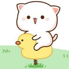 蜜桃猫 Kawaii Drawings, Cartoon Drawings, Cute Drawings, Kawaii Goth, Kawaii Chibi, Chibi Cat, Anime Chibi, Cute Love Pictures, Cute Images