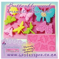 Butterfly and Insect Brooch Mould  Buy Now Online www.hostesspro.co.za Follow up on Facebook https://www.facebook.com/hostesspro.co.za #‎siliconemoulds‬ ‪#‎cakedecorating‬ ‪#‎sugarcraft‬ ‪#‎hostessprosugarcraft‬