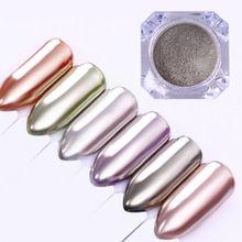 Espejo de Cristal Del Brillo Del Clavo Del Polvo de Pigmento 0.5g 1g Plata Brillo En Polvo Polvo Decoración de Uñas de Manicura(China)