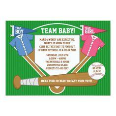 Shop Gender Reveal Party Invitation Baseball Sports created by eventfulcards. Gender Reveal Party Invitations, Pink Invitations, Baby Shower Invitations, Invitation Ideas, Invite, Bee Gender Reveal, Baby Shower Gender Reveal, Baby Gender, Gender Party