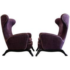 Pair of 1950s Italian Sculptural Wingback Chairs | From a unique collection of antique and modern wingback chairs at https://www.1stdibs.com/furniture/seating/wingback-chairs/