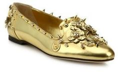 Dolce & Gabbana Studded Metallic Leather Loafers In Gold Metallic Loafers, Studded Loafers, Metallic Leather, Leather Loafers, Floral Print Shoes, Floral Flats, Golden Shoes, Spike Shoes, Leather Slip On Shoes