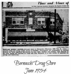 """Who remembers going into Bernacchi's Drug Store on 39th and 75th? Check out this link! """"... owned by Louis Bernacchi, once billed as the largest pharmacy in Kenosha. It had a soda fountain and lunch counter on the east side of the store and was referred to as """"St. Bernacchi's"""" because kids would go in there instead of going to church,"""" John said."""" http://www.geni.com/people/Lawrence-Bernacchi/6000000020038607291"""