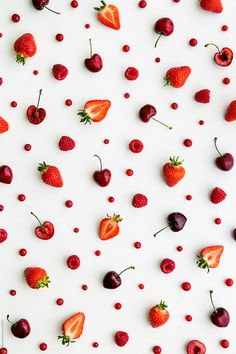 Red fruit background by Ruth Black - Strawberry, Fruit - Stocksy United