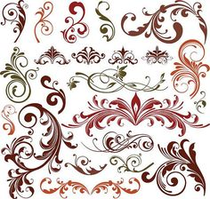Swirl Floral Flores Clipart // Flores Clip Art // Dividers Clipart // Decoration // PNG and Vector files // Instant download Z002