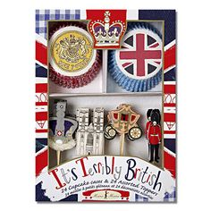 Jubilee cake set - including paper cupcake moulds, and cardboard cake decorations