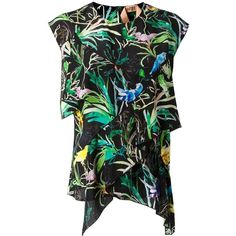 Nº21 tropical print blouse (23.225 RUB) ❤ liked on Polyvore featuring tops, blouses, colorful tops, tropical print top, silk top, multi color tops and silk blouses