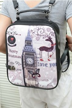 Fashion Tower Graphic Backpack OASAP.com