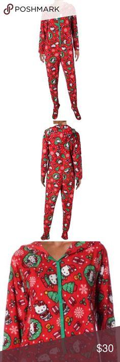 Hello Kitty Holiday Footed Onesie Hello Kitty Holiday Footed Onesie with hoodie. Hello Kitty Intimates & Sleepwear Pajamas