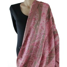Wrap yourself in one of these luxuriously soft pink pashmina shawl / scarf..Flip it to the other side for a new scarf.