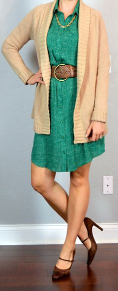 Outfit Posts: outfit post: green shirt dress, oatmeal cardigan, brown mary janes