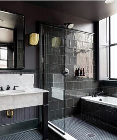 hotel bathroom Ace Hotel New Orleans occupies extended art-deco building Ace Hotel, Dark Bathrooms, Small Bathroom, Hotel Bathrooms, Bathroom Ideas, White Bathroom, Bathroom Goals, Dream Bathrooms, Bathroom Renovations