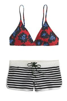 JCrew  http://www.refinery29.com/bikini-shopping-tips#slide-3  If you're not keen on flashing cheek to random beach-goers...Pair a bikini top with board shorts for maximum coverage on bottom. J.Crew's extensive mix-and-match selection makes pattern-mixing easy, and weird combos, like the one here, impossible not to like.