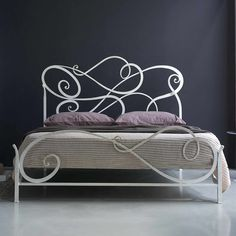 Modern White Cosatto Auran Wrought Iron Bed Design Feature Unique Shaped Headboard And Footboard Plus Four Wrought Bed Legs