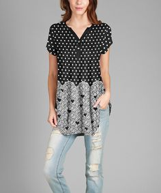 Look what I found on #zulily! Black & Gray Polka Dot V-Neck Tunic - Plus by Simply Aster #zulilyfinds