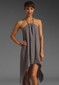 <3 KRISA Linen Hi Low Halter Dress in Taupe at Revolve Clothing - Free Shipping!